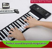 Usb миди 88 ключи кремний вручную рулон вверх пианино электронный синтезатор музыкальный инструменты встроенный динамики