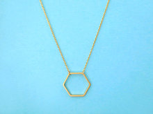 10pcs-N142 Trendy Geometric Gold and Silver Plated Hexagon Necklace for Women Simple Long Chain Jewelry Couple Necklace(China (Mainland))