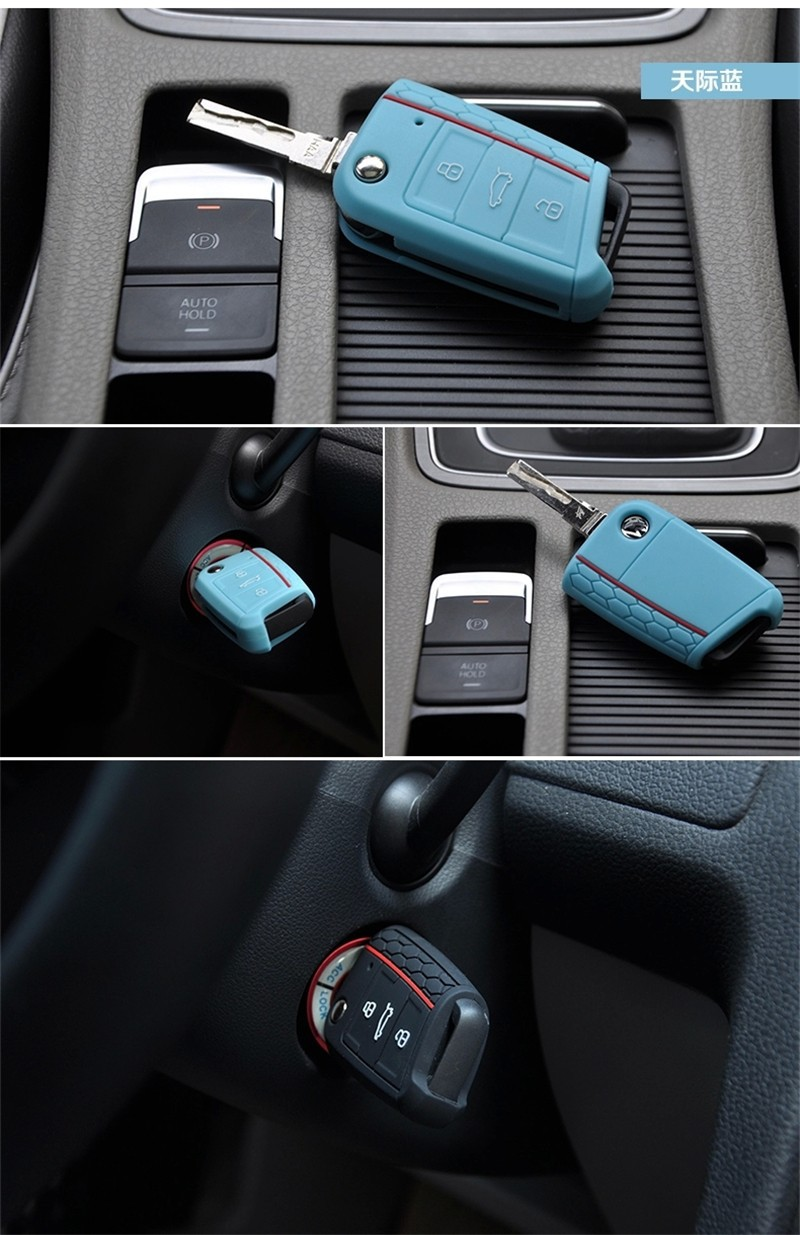 Car Accessories Key Case Key Bag Key Cover For Volkswagen VW Golf 7 mk7 Skoda Octavia A7 Silicone Key Portect Case1pc per set (6)