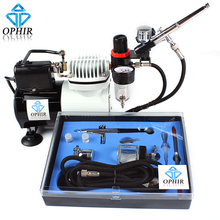 New OPHIR Airbrush Compressor Kit with Fan for Craftwork Spraying Tanning T-Shirt Art_AC114+AC004A+AC074(China (Mainland))