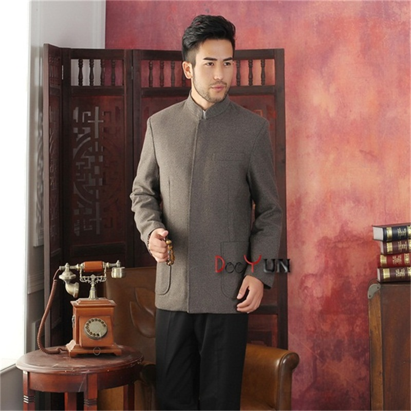 2015 New Arrival Brown Chinese Traditional Mens Jacket Striped Wool Coat Middle-aged Chinese tunic suit S M L XL XXL XXXLОдежда и ак�е��уары<br><br><br>Aliexpress