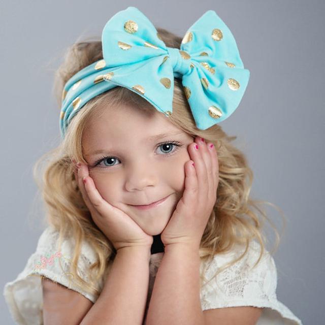 1 ШТ. 2016 Мягкие Новорожденных Девочек Малыш Большой Bowknot Hairband Повязка Детские ...