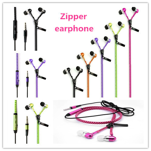 Universal Metal Zipper Style Earphone Fashion Headset with 3.5mm Connector Microphone Stereo Bass for phone pad MP3 MP4 etc(China (Mainland))