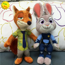 2016 Zootopia Movie Plush Rabbit Judy Hopps and Fox Nick Wilde Kids 28cm Plush Action Figure toys(China (Mainland))