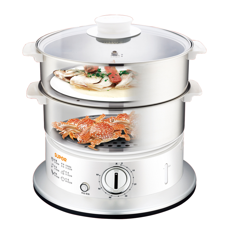 Free shipping Stainless steel electric steamer 9L capacity three large(China (Mainland))