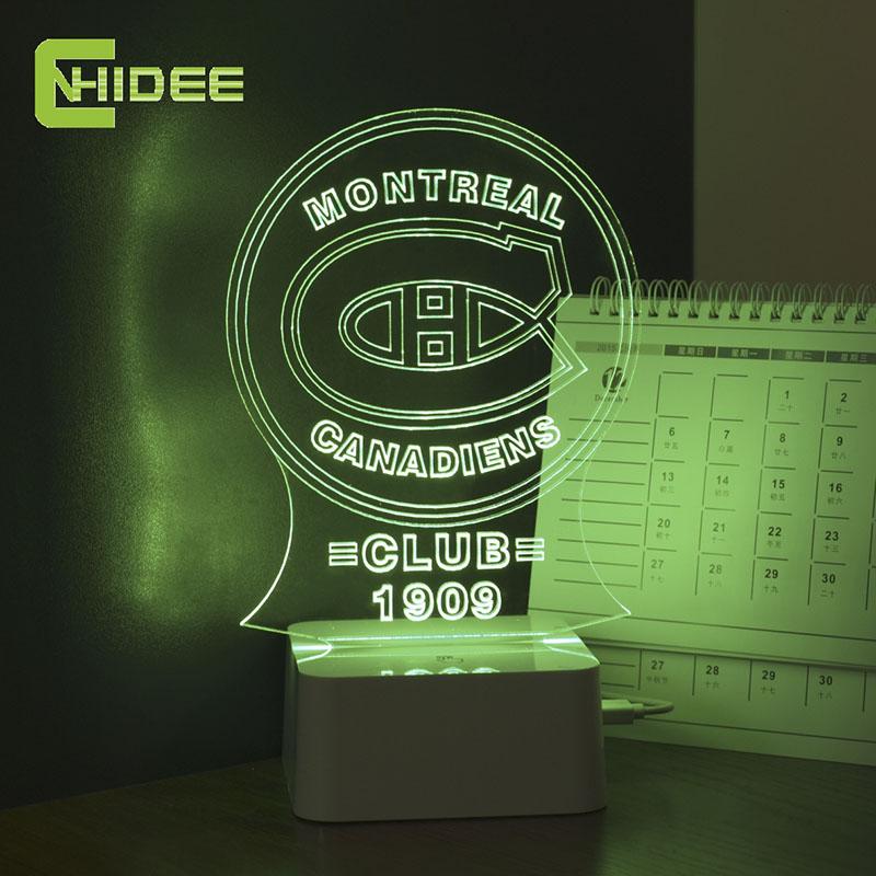 CNHIDEE Usb Novelty Led Night Lamp Canada Montreal Football Soccer Team 3D NightLight Table Lampara as Home Decor Desk Light<br><br>Aliexpress