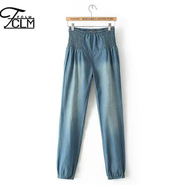 2016 весна женщины мода джинсы брюк завышенной талией ковбойские штаны эластичный ...