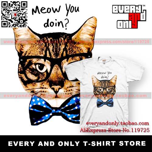 Free Shipping Cat sun glasses earphones cat big ears bow tie cat meow you doin 100% cotton t-shirt 2(China (Mainland))