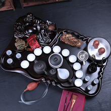 Purple kung fu tea set solid wood tea tray set tea set