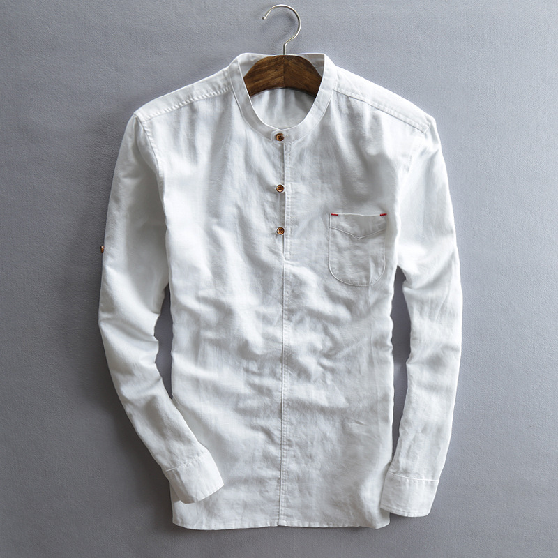 Mens shirts 2015 fashion shirt men linen roll up long for Mens collared henley shirt