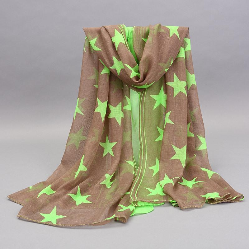 Estrella gasa impresión mujer bufandas mantón largo del abrigo de marca Hijab musulmán Desigual mujeres Foulard