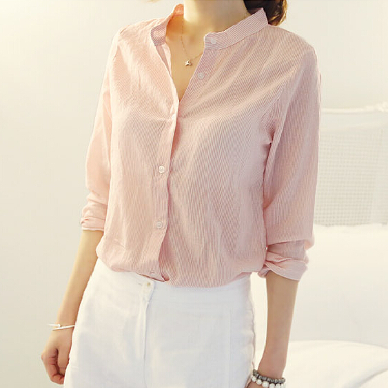 Pink Long Sleeve Shirt Fashion Simple Preppy Style Ladies Tops Autumn Design Chemise Femme 2015