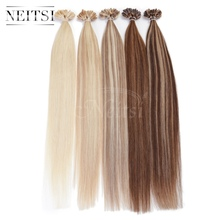 "5A Indian Remy Fusion U Nail Tip Human Hair Extensions Straight Weave 20"" 1g/s 100g/pack ombre color black red blonde 10 colors(China (Mainland))"