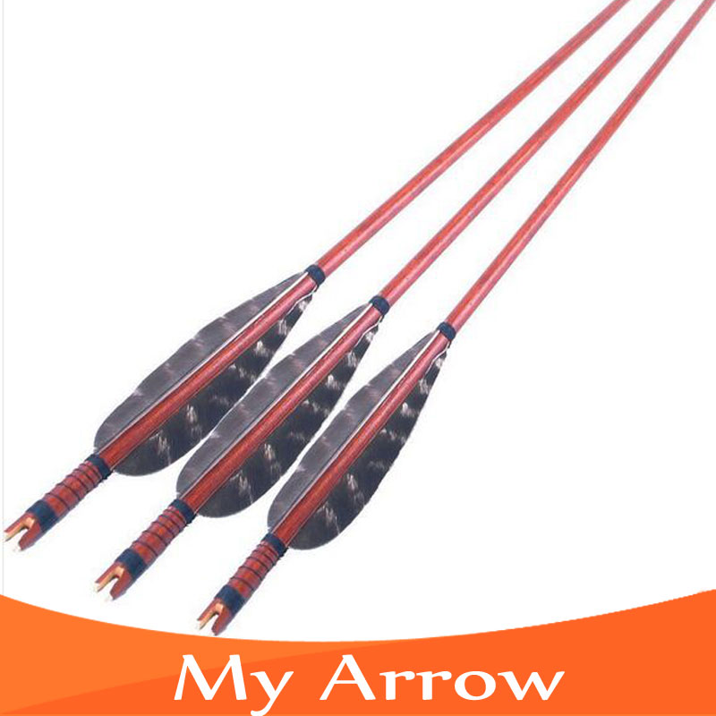 Big Sale 3pcs Archery Red Wooden Arrow With Turkey Feather For Compound And Recurve Long Bow