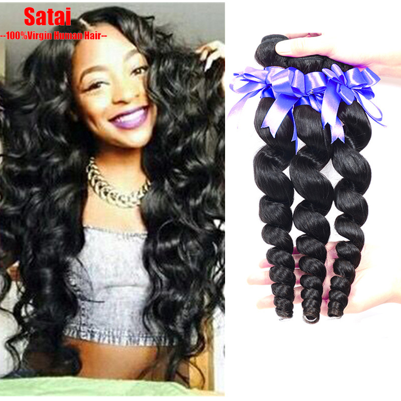 Peruvian Virgin Hair Loose Wave 3 Bundles Lot Peruvian Loose Curl 7A Unprocessed Virgin Peruvian Loose Wave 8-30Inch Human Hair