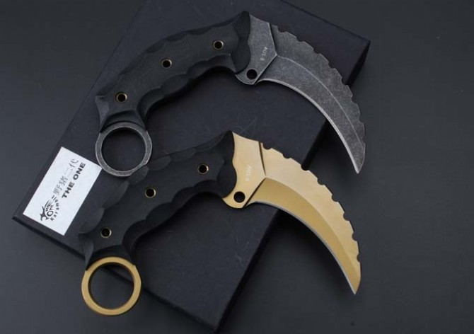 Buy 2 Options! AUS-8 Blade G10 Handle The One Karambit Small Fixed Knives, Camping Tactical Knife,Survival Knife. cheap