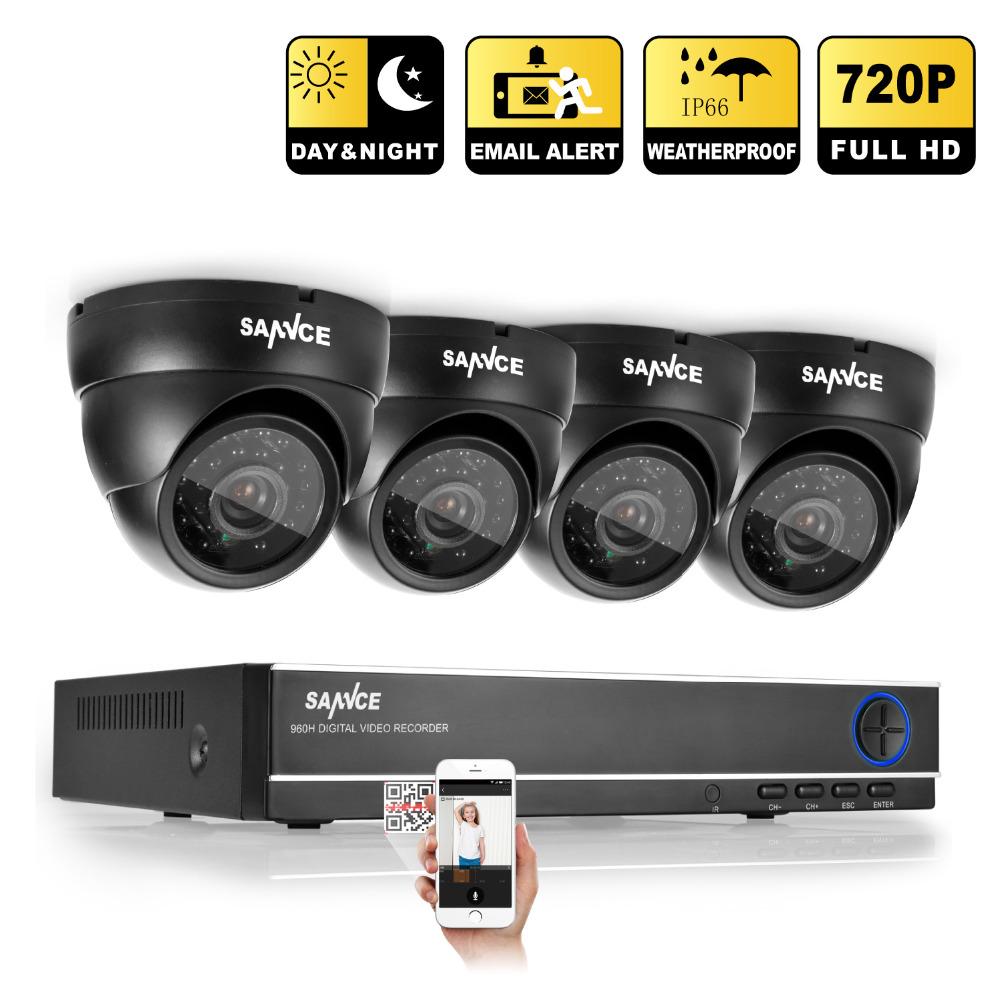 2016 SANNCE CCTV System HD 4CH DVR 4PCS 1.0 MP 720P 1200TVL IR Outdoor Security Camera System 4 Channel Video Surveillance Kit(China (Mainland))