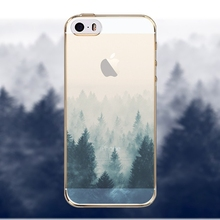 For iPhone 5 5S Phone Case Cover Silicon Beautiful Tree Scenery Painted Soft Ultra Thin Mobile Phone Shell Back Case