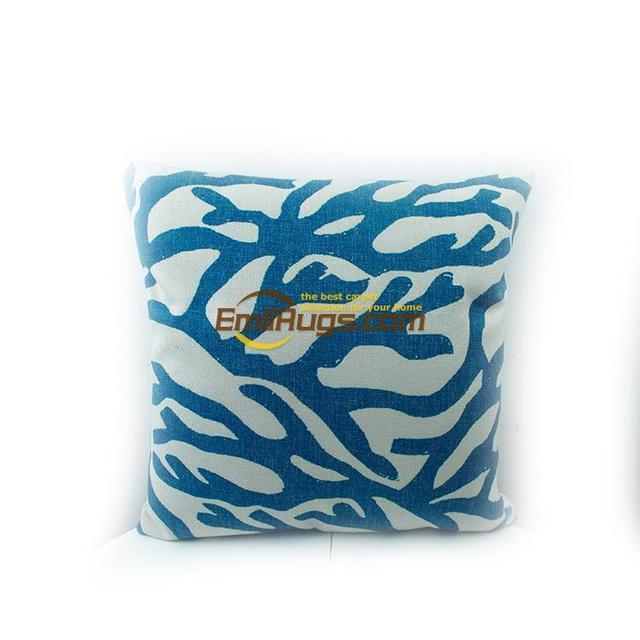 Blue coral хлопок и лен цифровая печать морских животных сделать старый стиль подушки кафе 61gc154yg2