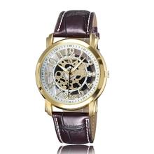 Nueva moda 2015 marca de lujo esqueleto hombres relojes militar deportes reloj de cuarzo correa de cuero de negocios reloj relogio masculino