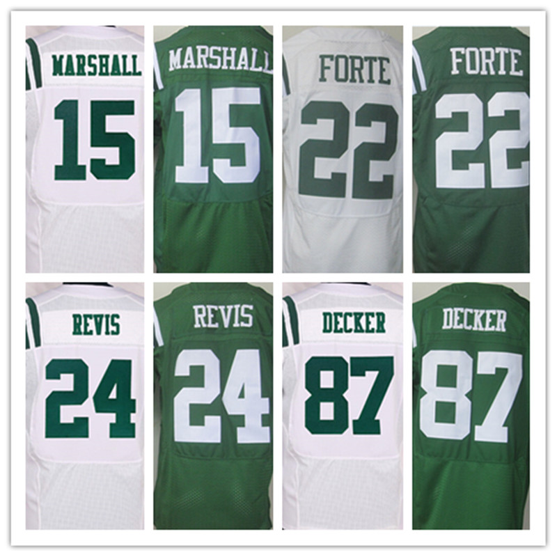 Good quality,Men's 15 Brandon Marshall 22 Matt Forte 24 Darrelle Revis 87 Eric Decker elite jerseys,White and Green,Size 40-56(China (Mainland))