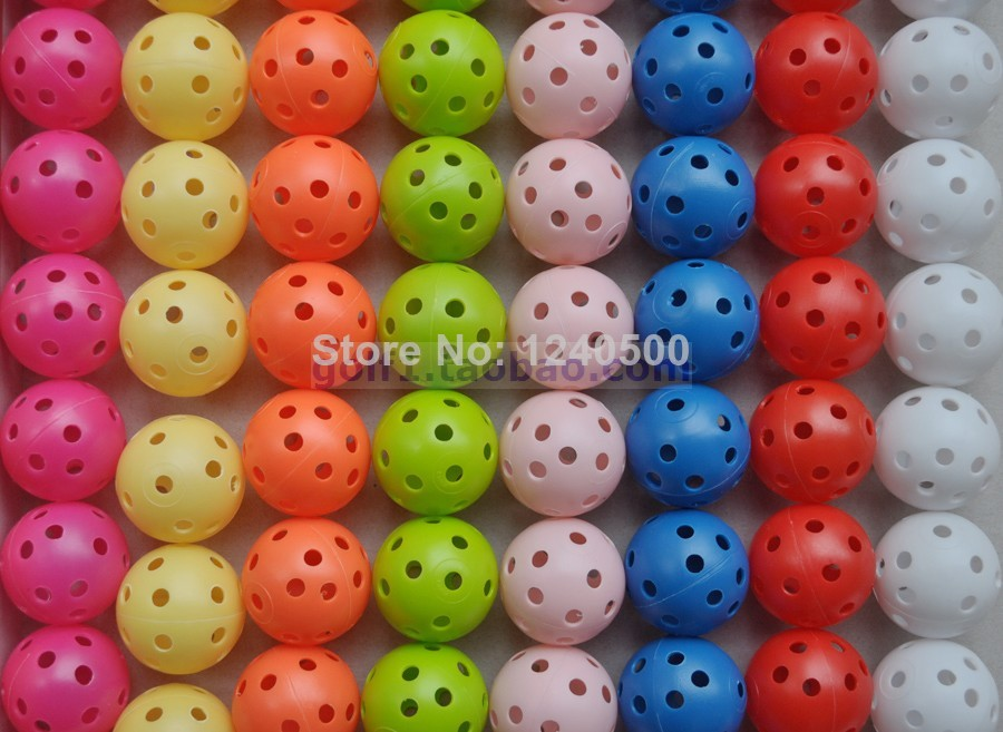 Free Shipping Brand New 80pcs 8 Colors Air Flow Golf Ball Practice Plastic Perforated(China (Mainland))