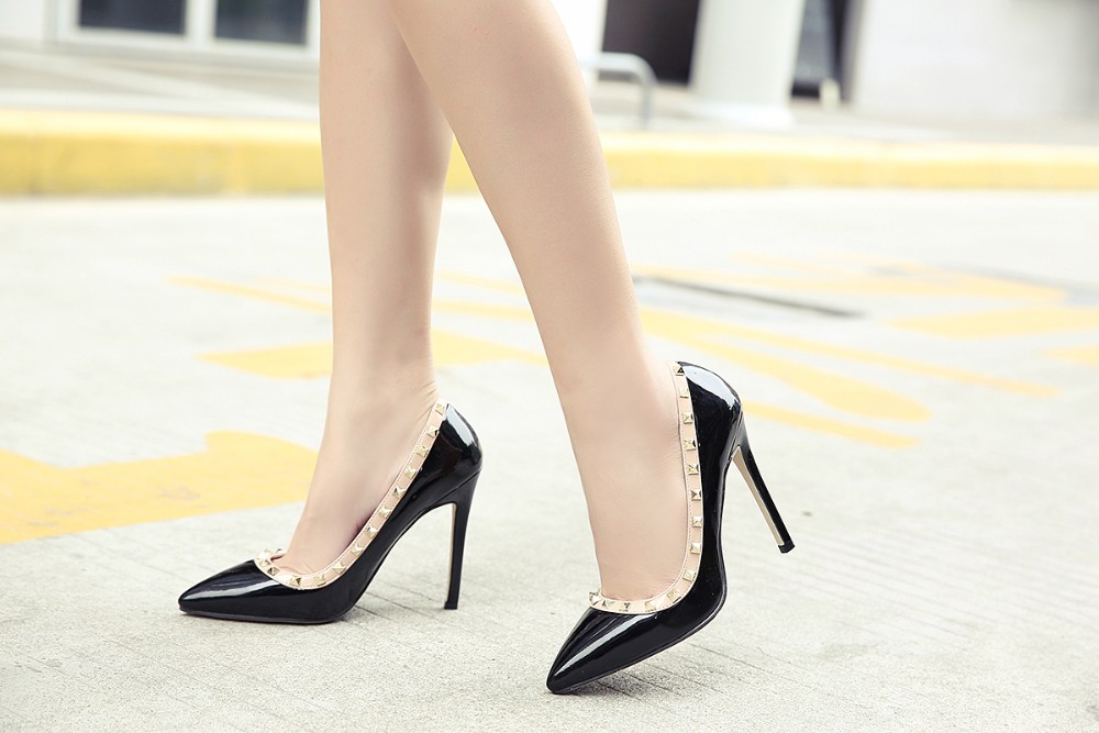 2017 Apricot Black Sexy Spring Shoes Woman Rivets Pumps High Heel Women Stilettos Wedding Party Dress Formal Prom Career Shoes