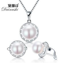 Dainashi настоящее пресной воды жемчужина комплект ювелирных изделий с слайд-кулон и серьги обруча с 925 ожерелье для женщин(China (Mainland))
