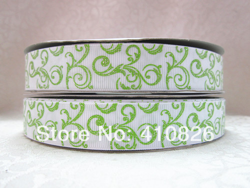 WM ribbon 7/8inch 22mm 14422006 green glitter scrolls printed grosgrain ribbon 50yds/roll free shipping(China (Mainland))