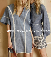 Italy Luxury Brand Designers Off-White Whipstitched Crochet Trim Cotton Dress Women's Blue Deep V-neck Boho Denim Shift Dress(China (Mainland))