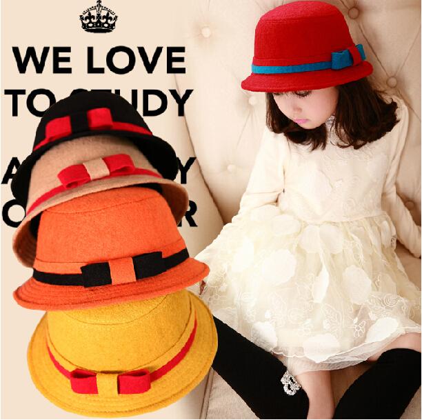Осень младенцы дети девочка дети хлопок шерсть ведро кепка рыбак шляпа войлок дутый сплошной колокол лежа верхний Chapeu Feminino