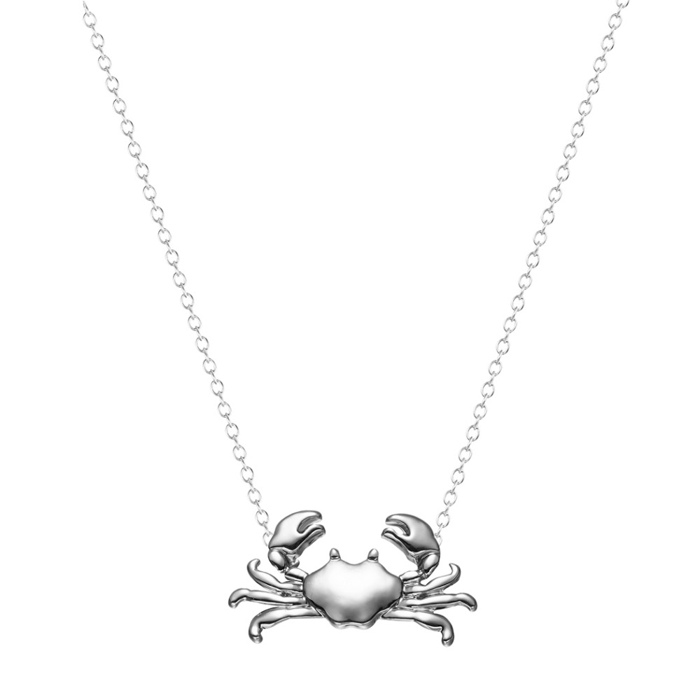 1Pcs Retail Silver Gold Maryland Crab Pendant Necklace Cancer Zodiac Necklace & Pendant Chain Jewelry for Women and Girls(China (Mainland))