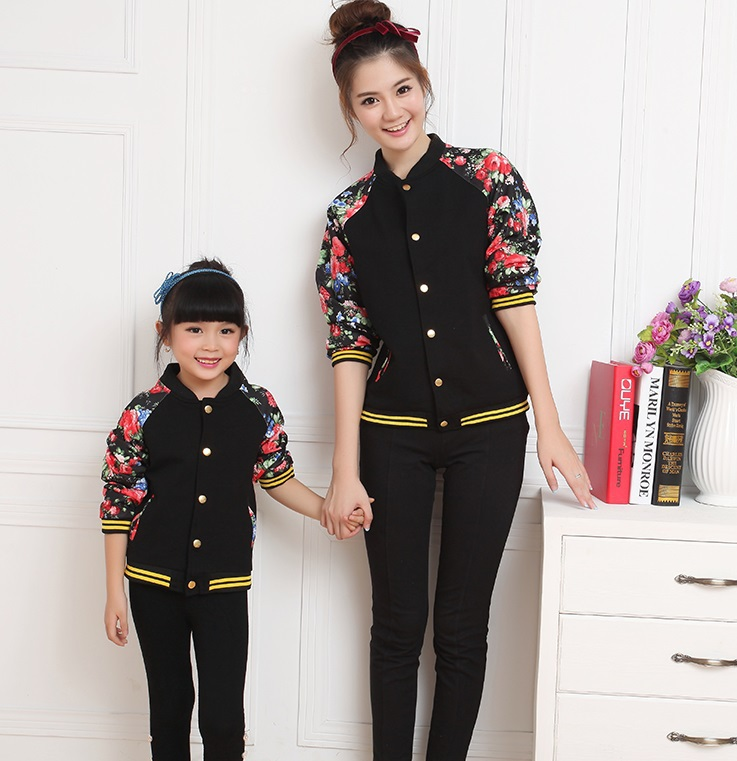New Autumn Baseball Coats Family Clothes for Mother and Daughter Girls Jackets and Coats Women outwear Fashion Clothes BER21<br><br>Aliexpress