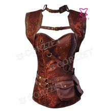 Newest 2014 Gothic Clothing Jacquard Brown Steel Boned Overbust Steampunk Corselet Corset Burlesque Bustier & Corsets For Women