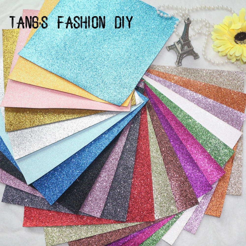 14 PCS/SET--20X22CM PER PCS DIY High Quality Glitter synthetic leather &Fabric 20X22CM PER PCS( Total 40 Colors Available)(China (Mainland))