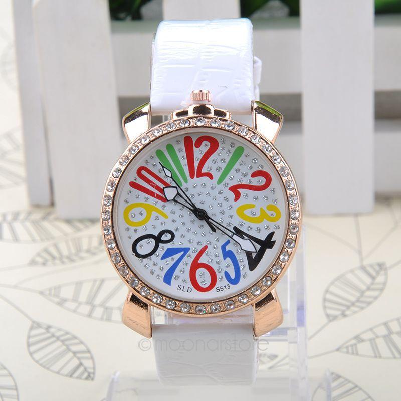 Luxury Big Dial Crystal Quartz Colorful Large Arabic Numerals Ladies Women Girls Dress Watches Wristwatch(China (Mainland))