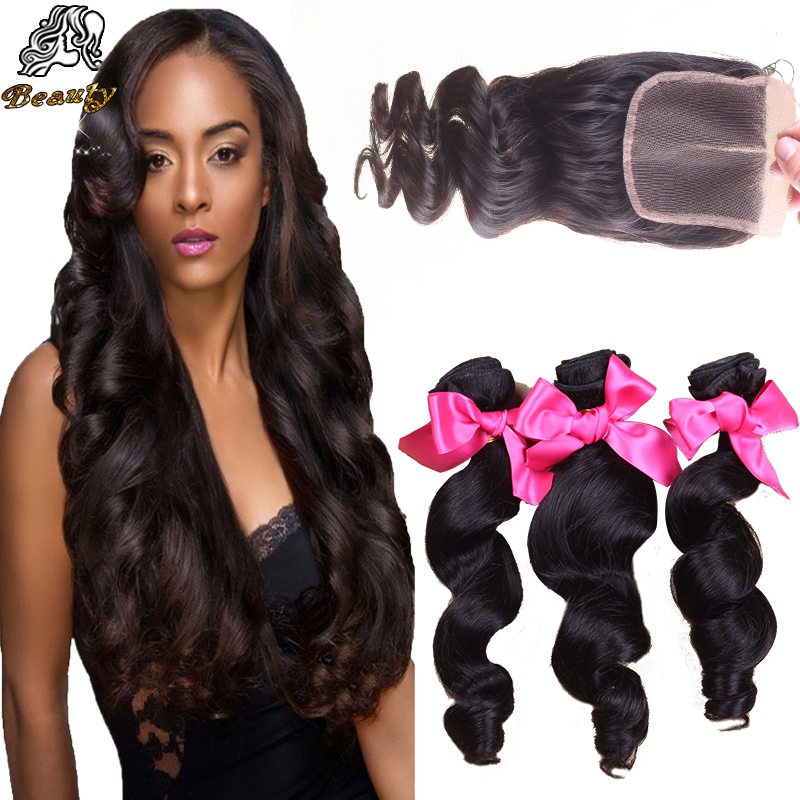 7A Brazilian Loose Wave With Closure 100% Brazilian Virgin Hair With Lace Closure,Cheap Human Hair Bundles With Closure FastShip