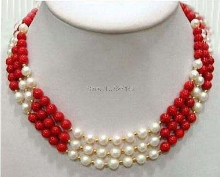 """Wholesale free p&p hot sale>>>>3 Rows Real White Pearl Red Coral 18KGP Clasp Necklace 17:-19""""(China (Mainland))"""