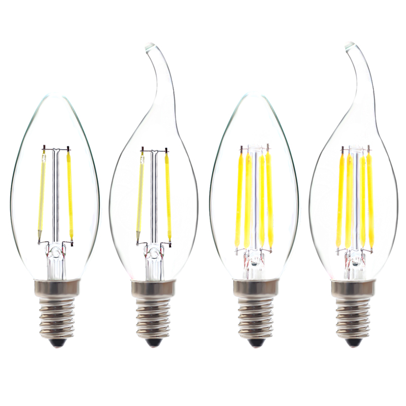 220V 2W 4W E14 LED Filament Bulb Warm Cool White CE Certified LED Candle Light for Crystal Chandelier Lighting Free Shipping(China (Mainland))