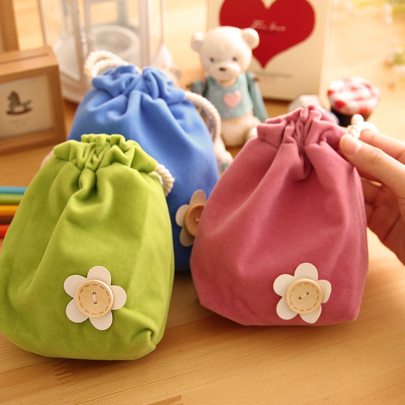 Lovely candy color small flower beam pockets Draw string bag key case coin purse storage bag 1pcs free shipping(China (Mainland))