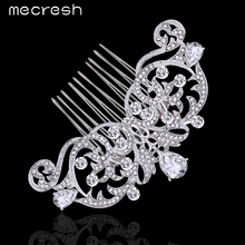Mecresh Elegant Crystal Wedding Hair Jewelry Accessories for Women Cute Shape Silver Color Owl Eyes Bridal Hair Combs MFS116(China (Mainland))