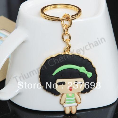 Zinc Alloy Plastic Keychain Keyring Keyfob Cartoon Golden Green Mousse Girl - Triumph Chen store