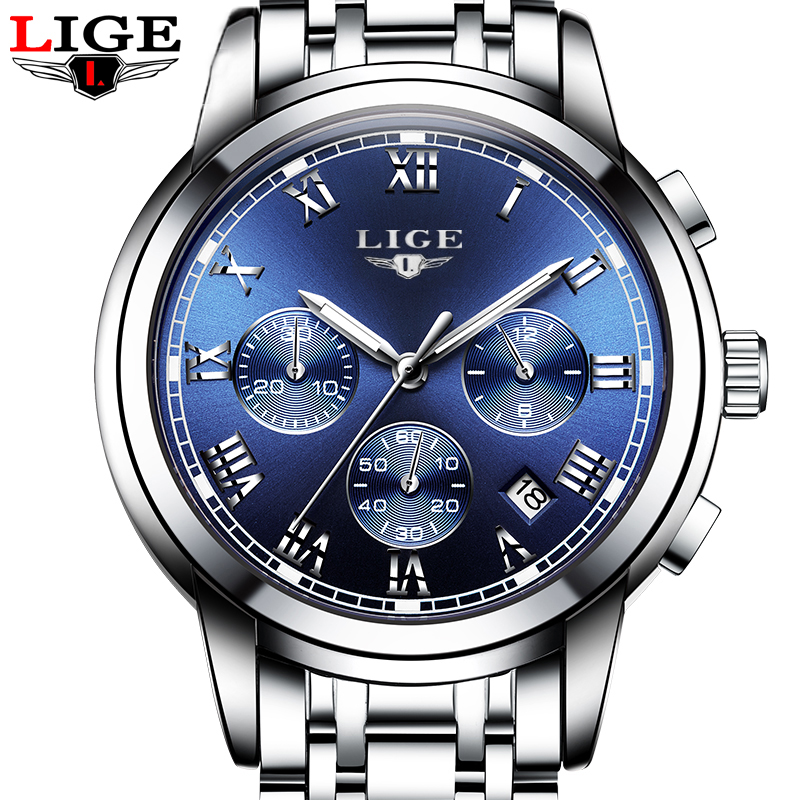 Relogio masculino LIGE brand luxury Mens Watches Fashion Company Quartz Men's watch Sport Stainless Steel Waterproof watches(China (Mainland))