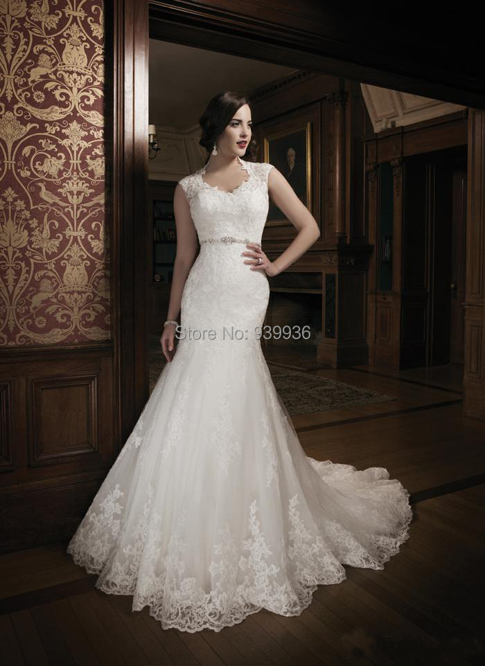 New arrival mermaid wedding dresses lace cap sleeves floor for Justin alexander lace wedding dress