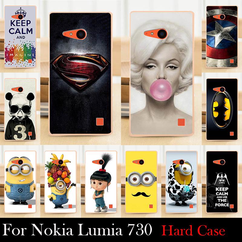 For Nokia Lumia 730 735 Hard Plastic Mobile Phone Cover Case DIY Color Paitn Cellphone Bag