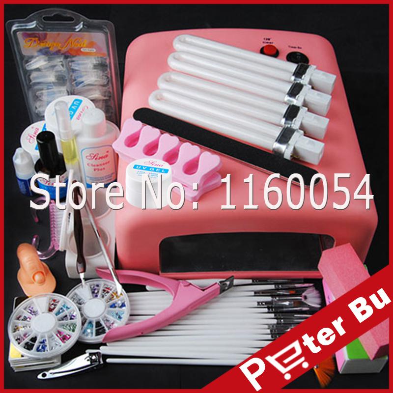 36W UV Lamp Light UV Gel Nail Kit Bulbs UV gels Builder Topcoat Primer Degreaser Buffer brushes Rhinestones Nail Art Tools kit(China (Mainland))