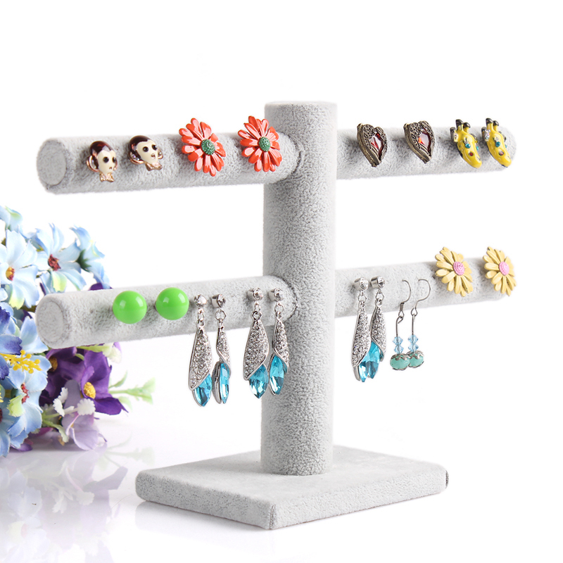 Hot sell Double layer earrings Jewelry Displays double layer velvet earrings holder 40 booths =$8.9(China (Mainland))