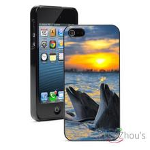 Dolphins Ocean Sunset Protector back skins mobile cellphone cases for iphone 4/4s 5/5s 5c SE 6/6s plus ipod touch 4/5/6