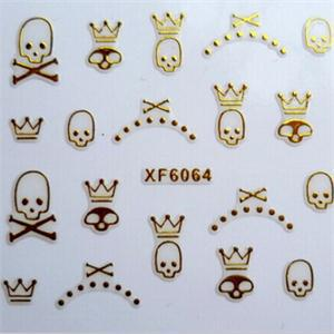 Free shipping 10 Sheet golden cute Skull Cat shape 3D Design Tip Nail Art Nail Sticker Nail Decal Manicure nail tools(China (Mainland))