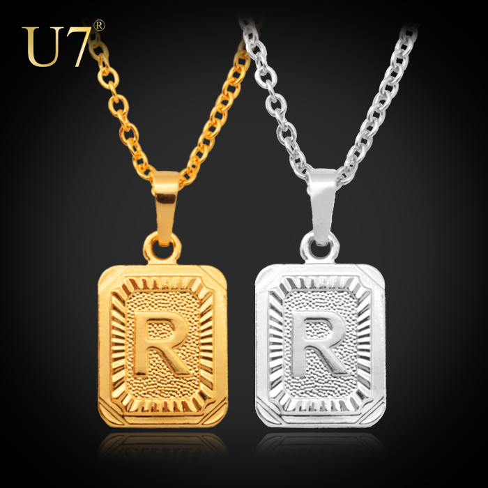 New 18K Real Gold/Platinum Plated Fashion Jewelry Factory Wholesale Women/Men Gift Trendy R Letter Pendant Necklaces P410(China (Mainland))